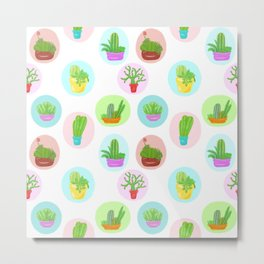 A Collection of Potted Cacti and Succulents With Borders Metal Print