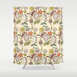 Hedgehog Field in Cream Shower Curtain