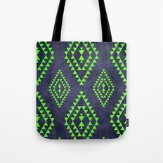 Navy & Lime tribal inspired print Tote Bag