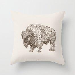 Grandpa Bison  Throw Pillow