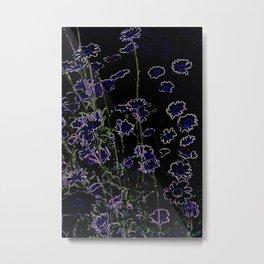 DANCING DAISIES - ABSTRACT IN BLACK Metal Print