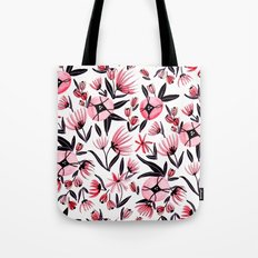 Black and Peach Flowers - Watercolor Pattern Tote Bag