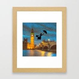 Umbrella Girl  Over London Framed Art Print