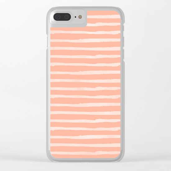 Sweet Life Thin Stripes Peach Coral Pink Clear iPhone Case