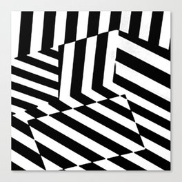 Black and White Dazzle Camouflage Pattern Canvas Print