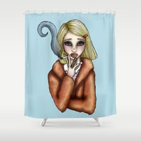 tenenbaum Shower Curtains featuring Margo Tenenbaum by Hungry Designs