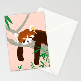 Snoozing Red Panda Stationery Cards
