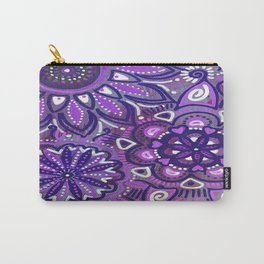 Paisley Purple Flowers Carry-All Pouch