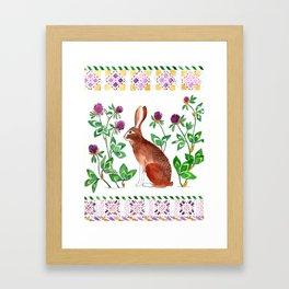 Rabbit and Clover Framed Art Print
