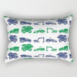 Blue and Green Construction Vehicles Rectangular Pillow