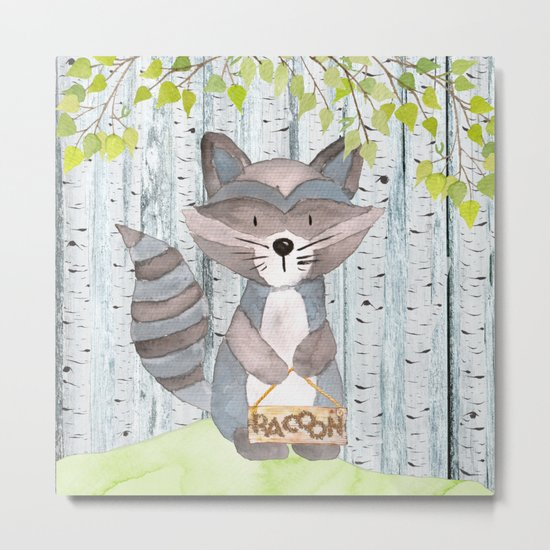 The adorable Racoon- Woodland Friends- Watercolor Illustration Metal Print