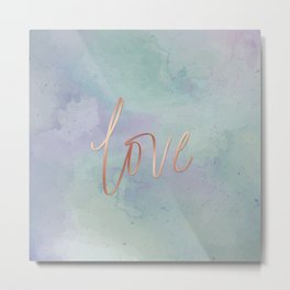 Your Love Is Gold - Blue & Green Watercolour Metal Print