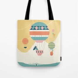 Travel in a Coffee Hot Air Balloon Tote Bag