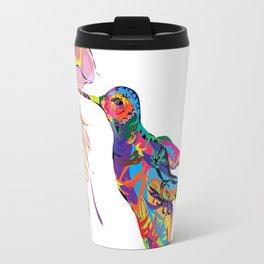 """Humhumbird"" Paulette Lust's whimsical, colorful, contemporary, original, fun, art.  Travel Mug"