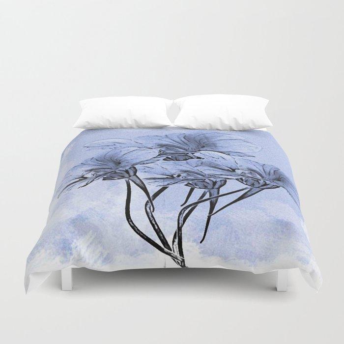 Painterly Blue Floral Duvet Cover