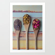 Three Beauties, Floral and Wooden Spoon Art Print