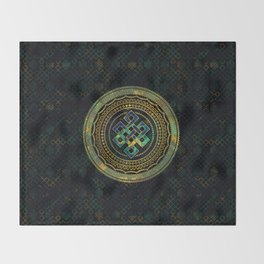 Marble and Abalone Endless Knot  in Mandala Decorative Shape Throw Blanket