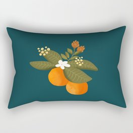 Botanical pillow : Orange tree in blue background Rectangular Pillow