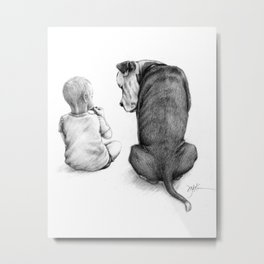 Friends for Life Dog and Child Metal Print