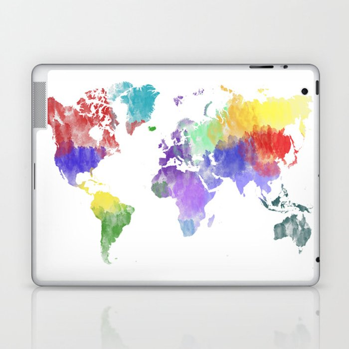 Colorful World Map Laptop IPad Skin By Mormor Society - Colorful world map