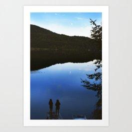 Camping by the Lake Art Print