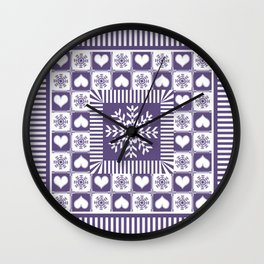 Purple Hearts and Snowflakes Ski Season Wall Clock