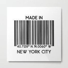 made in New York City NYC (barcode) Metal Print