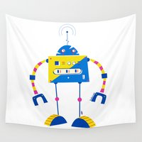 robot Wall Tapestries featuring Robot by Marcelo Badari