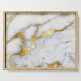 White and Gray Marble and Gold Metal foil Glitter Effect Serving Tray