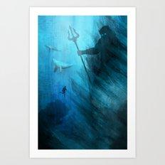 Scuba Diver meets Poseidon  Art Print