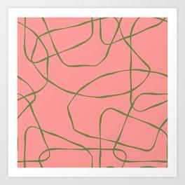 Green Line Art on Pink Background Art Print