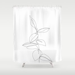 One line minimal plant leaves drawing - Berry Shower Curtain