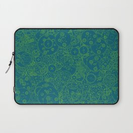 Clockwork Turquoise & Lime / Cogs and clockwork parts lineart pattern Laptop Sleeve