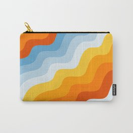 Vintage Blue and Orange Mid-Century Minimalist Retro Abstract Art Carry-All Pouch