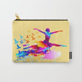 Colorful ballet dancer with flying birds Carry-All Pouch