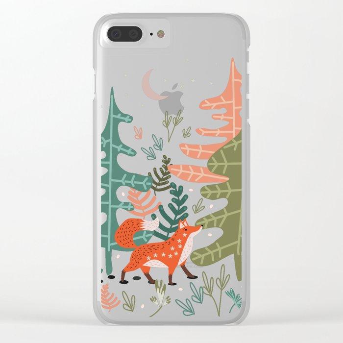 Evergreen Fox Tale Clear iPhone Case