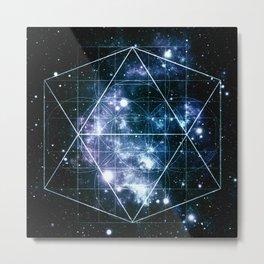 Galaxy Sacred Geometry Deep Ocean Blue Metal Print
