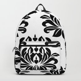 Antique Brocade Black and White Flower Print Backpack