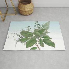 Botanical Leaves and Ferns Digital Collage of Vintage Elements Rug