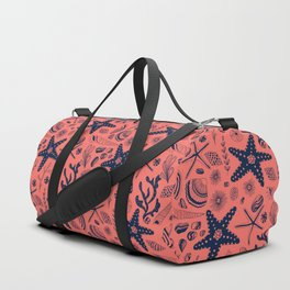 Sea shells on living coral background Duffle Bag