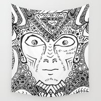 warrior Wall Tapestries featuring Warrior by Ommou