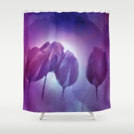 4 purple tulips on watercolor Shower Curtain