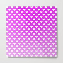 Light Pink Gradient White Hearts Metal Print