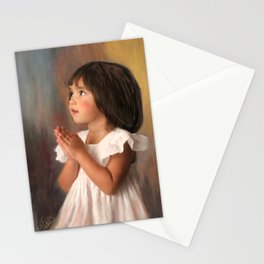 Precious child praying Stationery Cards