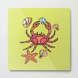 Summer crab Metal Print
