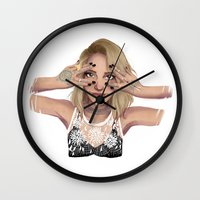 coachella Wall Clocks featuring Coachella Mood by Judit Mallol