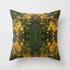 YELLOW RUDBECKIA DAISIES WATER REFLECTIONS Throw Pillow