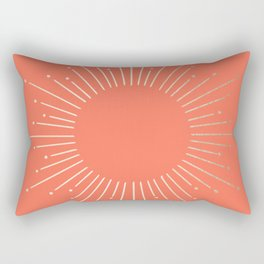 Simply Sunburst in Deep Coral Rectangular Pillow