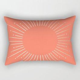 Simply Sunburst in Deep Coral Rectangular Pillow