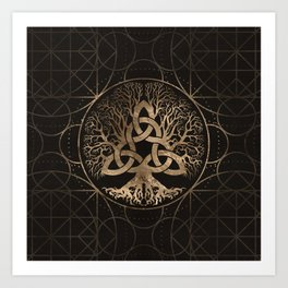 Tree of life -Yggdrasil with Triquetra Art Print
